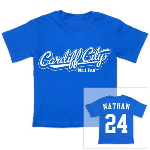 CARDIFF CITY Football Personalised Boys//Girls T-Shirt