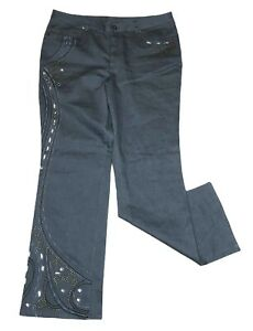 Monroe-amp-Main-Women-039-s-Size-16W-Pants-Gray-Bootcut-High-Rise-Embroidered-Bling