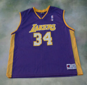 Vintage Champion NBA Los Angeles Lakers Shaquille O Neal Jersey  34 ... 0a36ee482