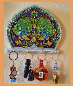 white-metal-meenakari-key-holder-wall-mounted-key-organizer-with-4-hooks-India