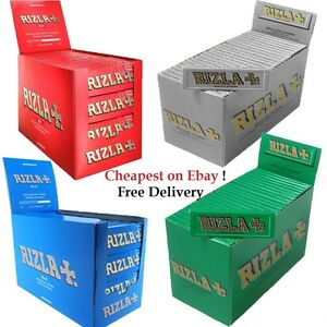 50-BOOKLETS-Rizla-Regular-Genuine-RED-GREEN-SILVER-BLUE-Cigarette-Rolling-Papers