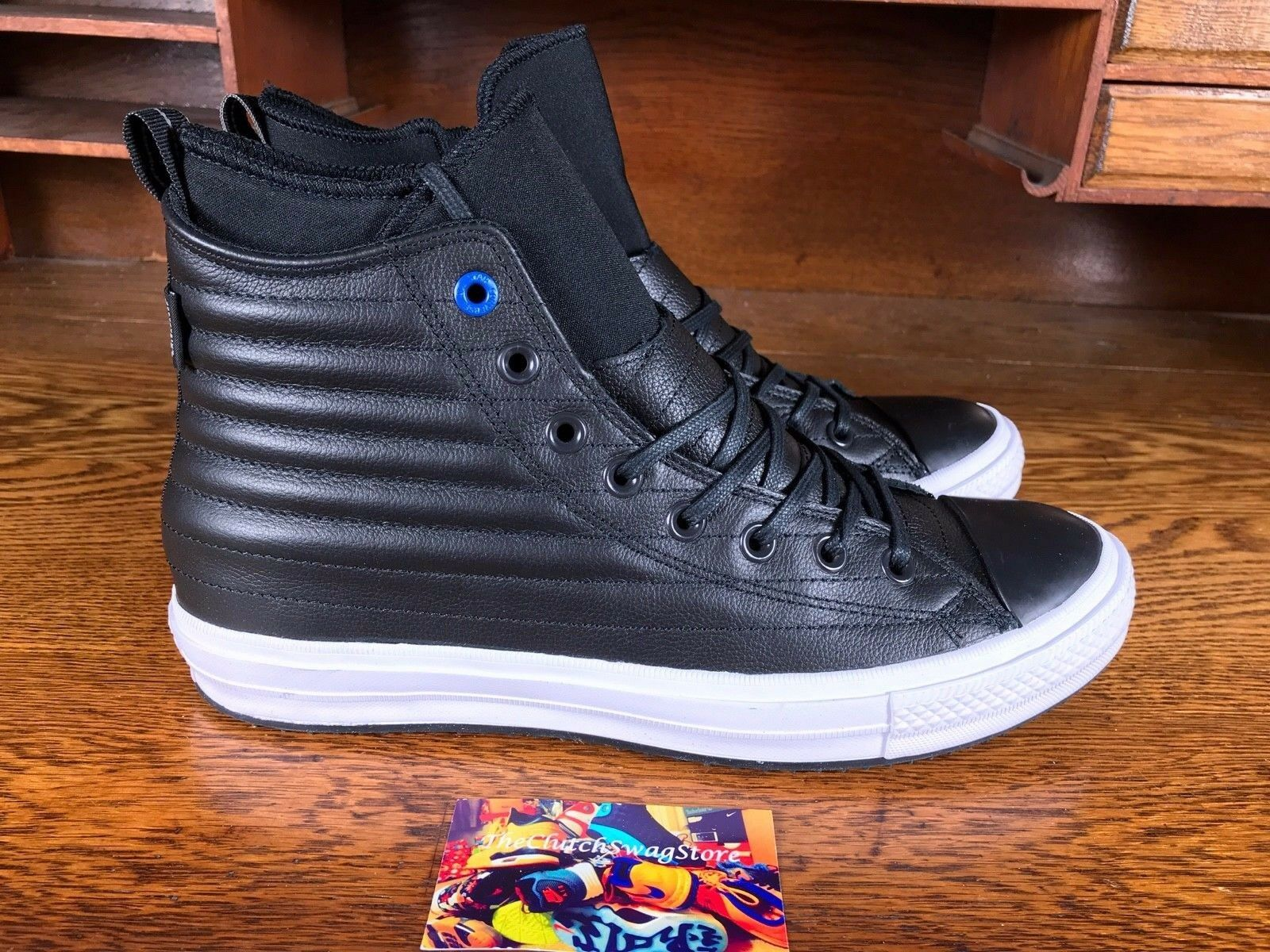 Converse All Star High Mens Waterproof Quilted Leather Boot Black Sz 10 157492C