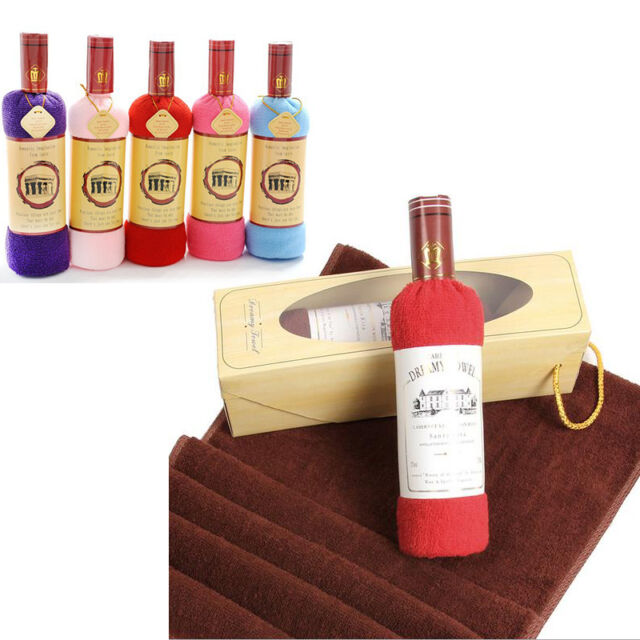 Creative Red Wine Bottle Shape Washcloth Bath Shower Face Soft Cotton Towel Gift