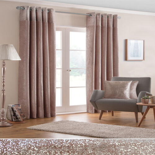 PAIRS OF GLITTERY SPARKLES BORDER ROSE GOLD THICK VELVET LINED EYELET CURTAINS