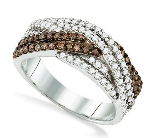 Marron Chocolat et Blanc Bague Diamant Argent Sterling .925 Twist Band .75 ct