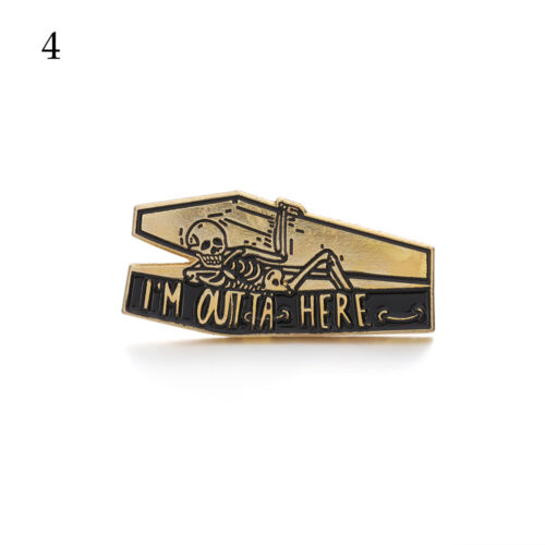 """Pins and Brooches /""""LIFE WAS OK/"""" Skull Coffin Enamel Pins Badges Brooches Jewelry"""