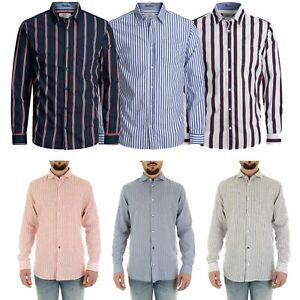 Jack-amp-Jones-De-Hombre-A-Rayas-De-Manga-Larga-Ajustada-Casual-Camisa-Prendas-para-el-torso-Talla-S