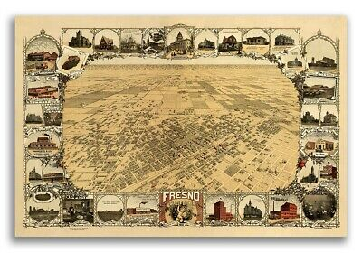 Fresno California 1901 Historic Panoramic Town Map 24x36