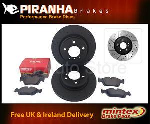 Alfa MiTo 1.4 16v 01//09 Front Brake Discs Black Dimpled Grooved Mintex Pads
