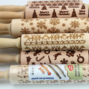 Engraved-rolling-pin-wooden-laser-cut-ANY-PATTERN-design-cookies-embossed-DIY