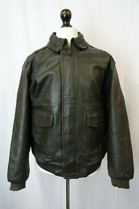 61a64b006 Vintage A-2 LL Bean Goatskin Leather Bomber Flight Jacket XL LD265 ...