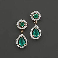 18ct Yellow Gold Natural Colombian Emerald & Diamond Earrings VS