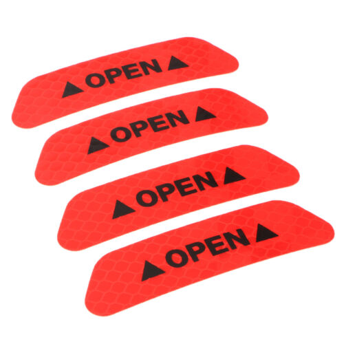 4x Car Door Open Sticker Reflective Safety Warning Auto Decal Film Red