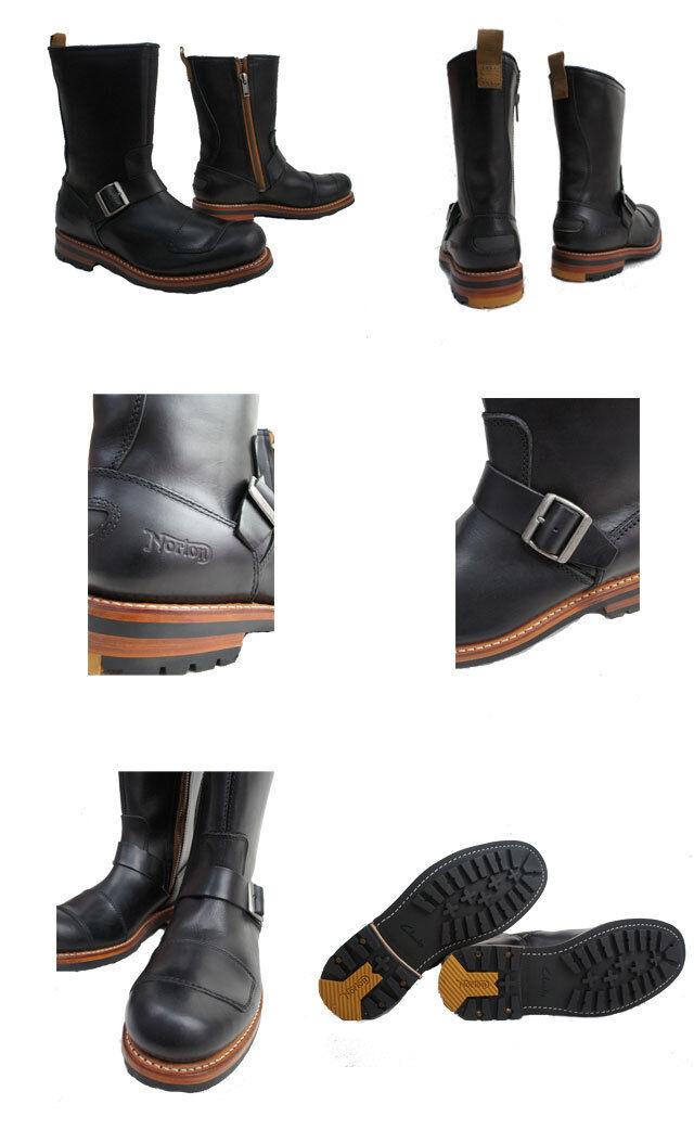 Carks & NORTON ** NORTON ZIP ZIP ZIP in ottone ** Hard nero biker boot ** /True 7 6b3252