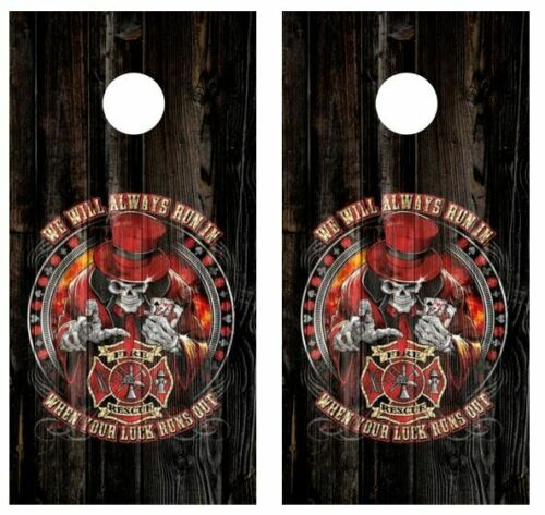 Fire Rescue We Will Always.. Barnwood Cornhole Board WrapsFREE LAMINATION #3340