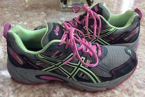 Asics GEL Venture 5 Women's Grey Pink Running Shoes Size 7.5