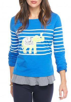 Crown & Ivy Women's Petite Size PP 2fer Elephant Graphic Sweatshirt Long Sleeve