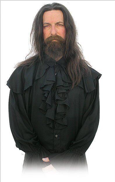 Gothic Mittelalter Pirat Vampir Hemd Pastorenhemd Virgil S/M,L,XL, schwarz,weiß