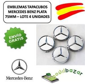 MERCEDES-LOGO-TAPAS-LLANTAS-4-UNIDADES-75MM-EMBLEMAS-DESDE-ESPANA-ENV-O-24-HORAS