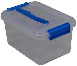 PLASTIQUE-Transparent-Stockage-Artisanats-Couture-Boite-a-Outil-avec-Bleu-Anse