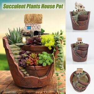 House-Resin-Succulent-Plant-Herb-Flower-Basket-Planter-Pot-For-Home-Garden-Decor