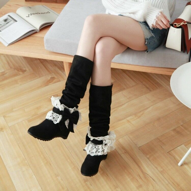 UK Women Hidden Wedge Heel Suede Mid Calf Boots Lace Bow Knee High Strench Shoes