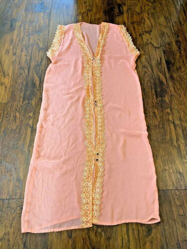 Vintage Pink Salmon Sheer Lace Robe Coverup Linger