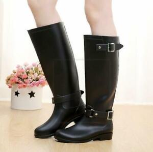 Fashion Womens Knee High Riding Boots Rain Waterproof Non-Slip Zip Water Shoes