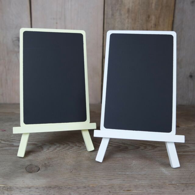 Small Rustic White / Ivory Wooden Table Chalk Memo Board Blackboard Easel/Stand