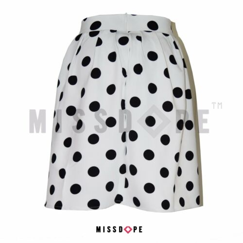 NEW WHITE POLKA DOT BLACK MIDI SKIRT WOMENS PLEATED FLARED SKATER 8 10 12 14 UK