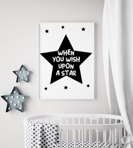 When You Wish Upon A Star Black Cool Nursery Print Kids Room Wall Art Picture