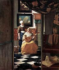 Art Beautiful Oil painting Johannes Vermeer - The Love Letter - Noblelady & Maid