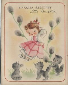 Image Is Loading Vintage Daughter Birthday Greeting Card Kitten Pussy Willow