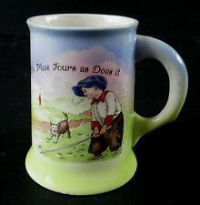 c.1930 Boy Playing Golf Smoking Cigarette Plus Fours & Dog  Hand Painted Tankard