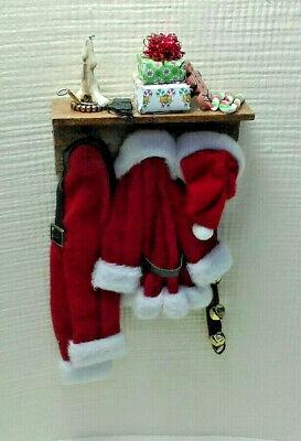 Dollhouse Miniature Artisan Santa Claus Outfit on a Wall Shelf by Shadow Box