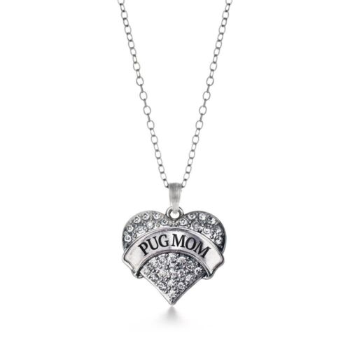 Inspired Silver Pug Mom Pave Heart Charm Necklace