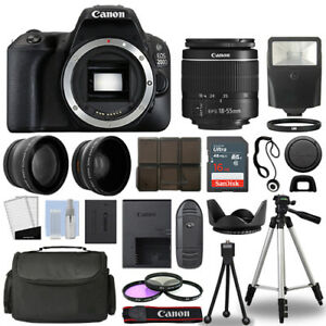 Canon EOS 200D / Rebel SL2 SLR Camera + 3 Lens Kit 18-55mm + 16GB + Flash & More 608410037472