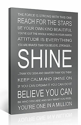 SHINE - 75x100cm Motivation Text Leinwand Druck Bild Zitat Kunst Bilder #e7259