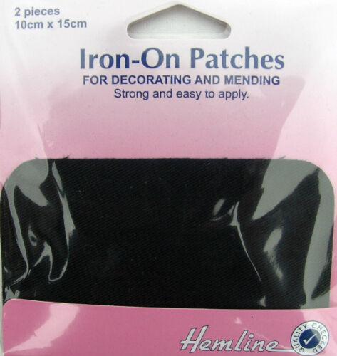 Gris Foncé Fer-Sur la Réparation Patches Pack de 2 10x15cm en polycoton