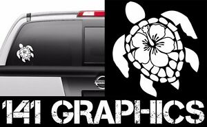Details about Custom Tropical Sea Turtle Hibiscus Flower Computer Cut Vinyl  Car Decal Sticker