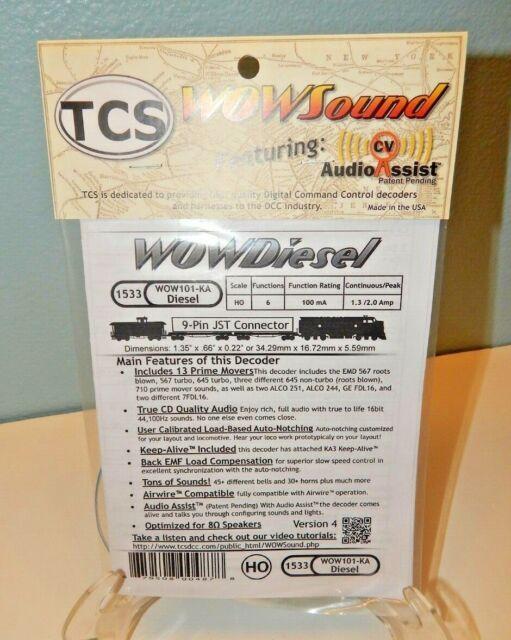 TCS #1533 WOW101-KA Diesel Engine DCC Sound Decoder w/9-pin JST Connector NEW