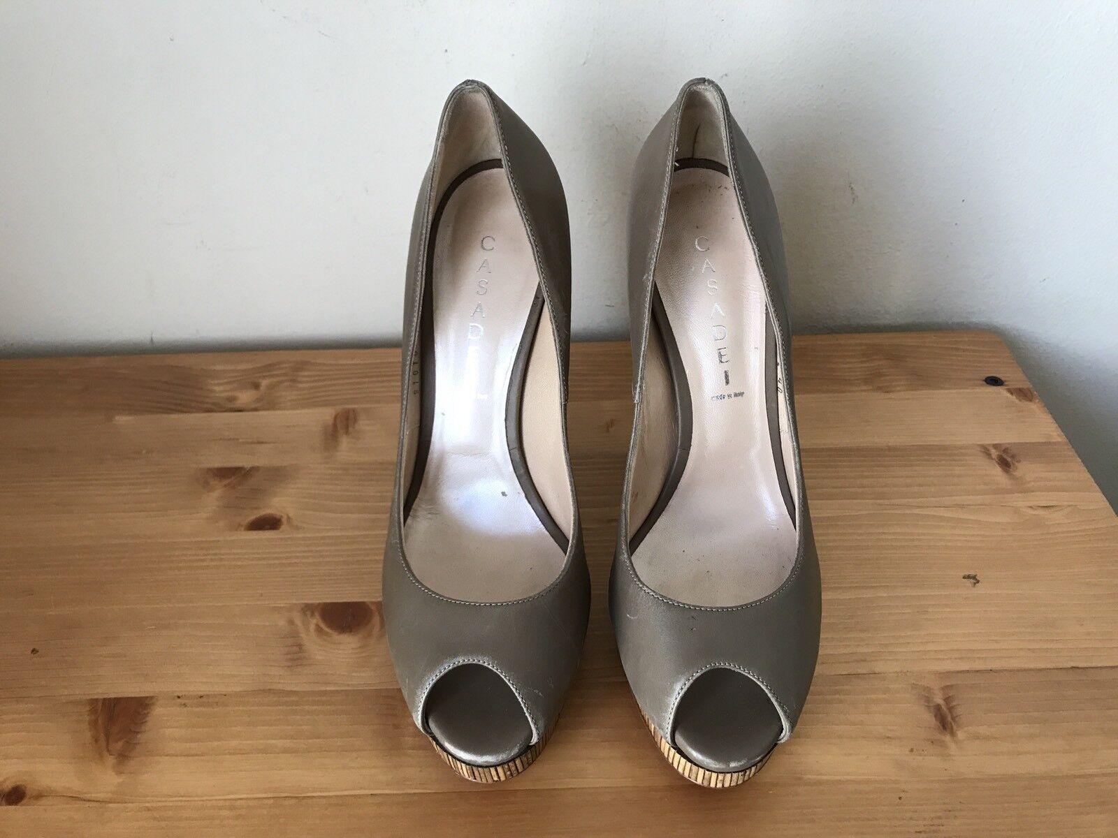 CASADEI taupe Leder Bamboo heels wrap heels Bamboo platform peeptoe pumps schuhe sz 10/40 edee7f