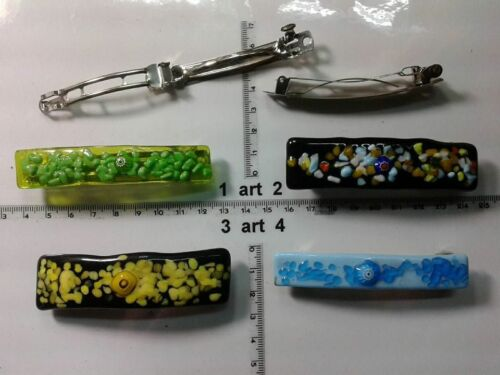 1 fermacapelli vetro e murrine murano glass artigianale vintage clips hairh b99