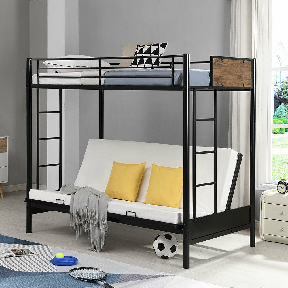 Twin Over Full Metal Bunk Bed Convertible Twin Over Futon Bed Frame With Ladder Shopping Com
