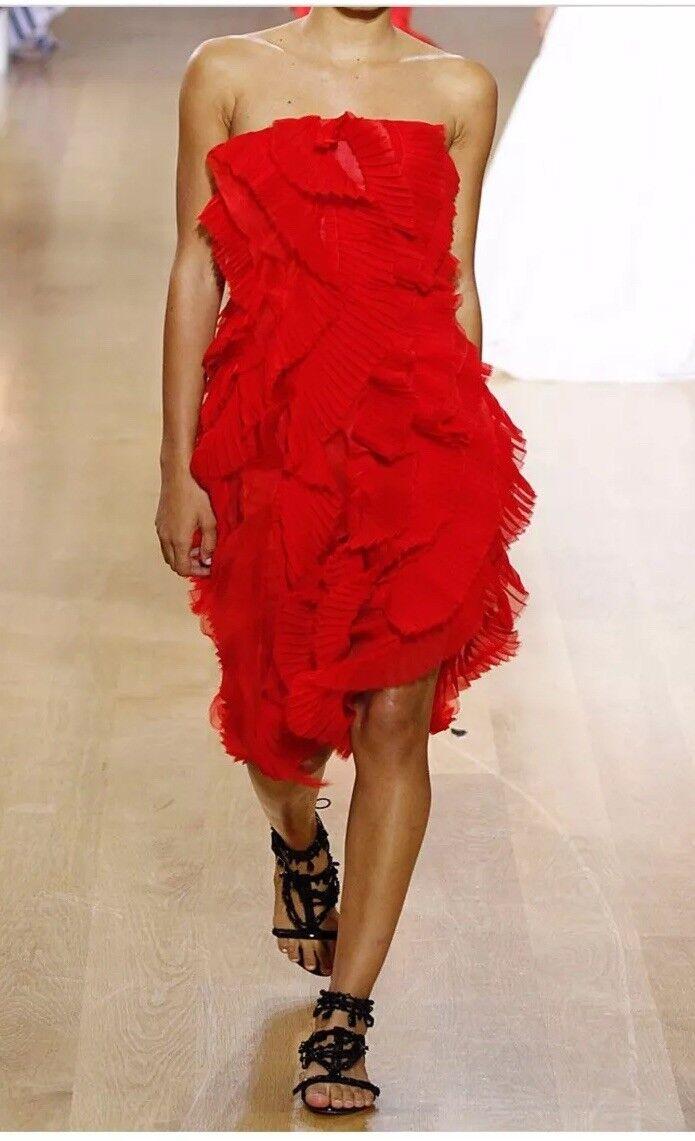 Oscar De La Renta Ruffle Strapless Dress Farfetch Barneys