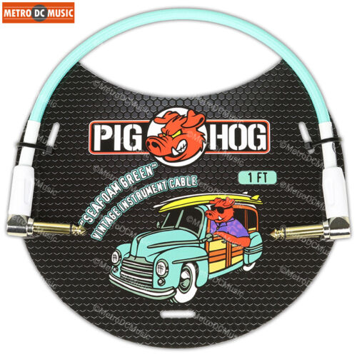 "2-Pack Pig Hog 1//4/"" Seafoam Green Guitar 1ft Right-Angled Patch Cables 1//4/"" NEW"
