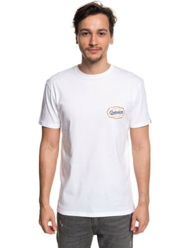 QUIKSILVER MENS T SHIRT.LIVE ON THE EDGE BACKPRINT WHITE COTTON TOP TEE 8W 45 WB