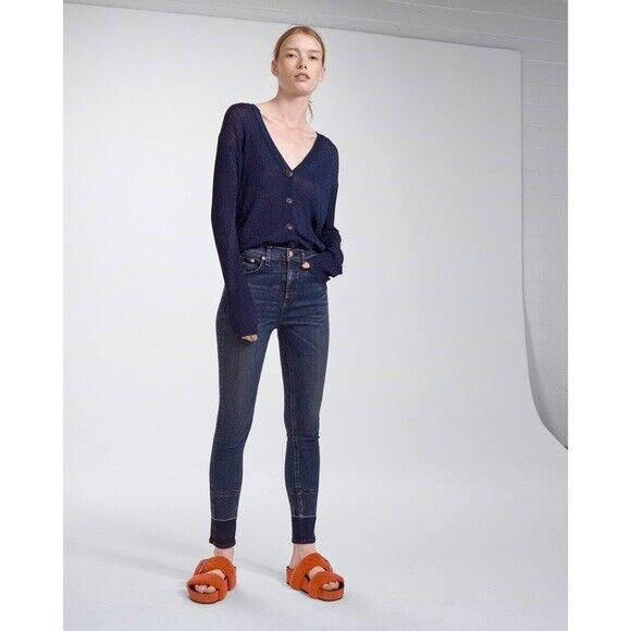 NWT RAG & BONE Jeans High Rise Ankle Skinny Jeans Dark Vee Size 28
