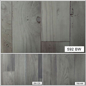 Non Slip Lino Grey Wood Effect Home Office Kitchen High Quality