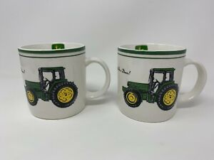 (2) Vintage John Deere Coffee Cup Mug Gibson  Nothing Runs Like A Deere